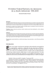 Scholarly article on topic 'El Instituto Federal Electoral y los claroscuros de su diseño institucional, 1990-2008'