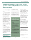 Scholarly article on topic 'Integrating Equity into Health Information Systems: A Human Rights Approach to Health and Information'