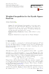 Scholarly article on topic 'Weighted Inequalities for the Dyadic Square Function'