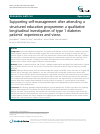 Scholarly article on topic 'Supporting self-management after attending a structured education programme: a qualitative longitudinal investigation of type 1 diabetes patients' experiences and views'