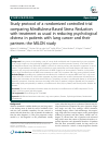 Scholarly article on topic 'Study protocol of a randomized controlled trial comparing Mindfulness-Based Stress Reduction with treatment as usual in reducing psychological distress in patients with lung cancer and their partners: the MILON study'