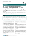 Scholarly article on topic 'Use of The International Classification of Functioning, Disability and Health (ICF) as a conceptual framework and common language for disability statistics and health information systems'