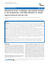 Scholarly article on topic 'Mechanical strain modulates age-related changes in the proliferation and differentiation of mouse adipose-derived stromal cells'
