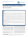 Scholarly article on topic 'Mental health and psychiatric care in Bolivia: what do we know?'