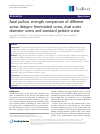 Scholarly article on topic 'Axial pullout strength comparison of different screw designs: fenestrated screw, dual outer diameter screw and standard pedicle screw'