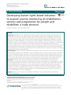 Scholarly article on topic 'Developing human rights based indicators to support country monitoring of rehabilitation services and programmes for people with disabilities: a study protocol'