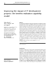 Scholarly article on topic 'Improving the impact of IT development projects: the benefits realization capability model'