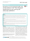 "Scholarly article on topic 'Perceptions of environmental health risks among residents in the ""Toxic Doughnut"": opportunities for risk screening and community mobilization'"