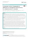 Scholarly article on topic 'A systematic review of geographical differences in management and outcomes for colorectal cancer in Australia'