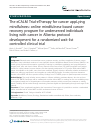 Scholarly article on topic 'The eCALM Trial-eTherapy for cancer appLying mindfulness: online mindfulness-based cancer recovery program for underserved individuals living with cancer in Alberta: protocol development for a randomized wait-list controlled clinical trial'