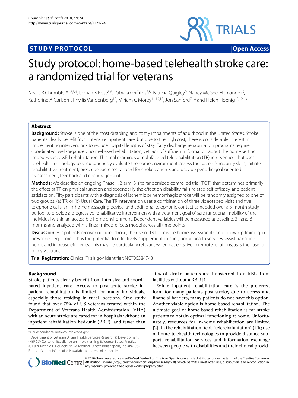 Study protocol: home-based telehealth stroke care: a