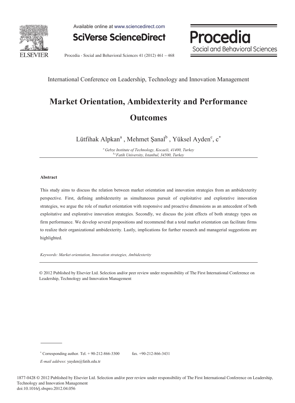 Market Orientation Ambidexterity And Performance Outcomes Topic Of Research Paper In Economics And Business Download Scholarly Article Pdf And Read For Free On Cyberleninka Open Science Hub