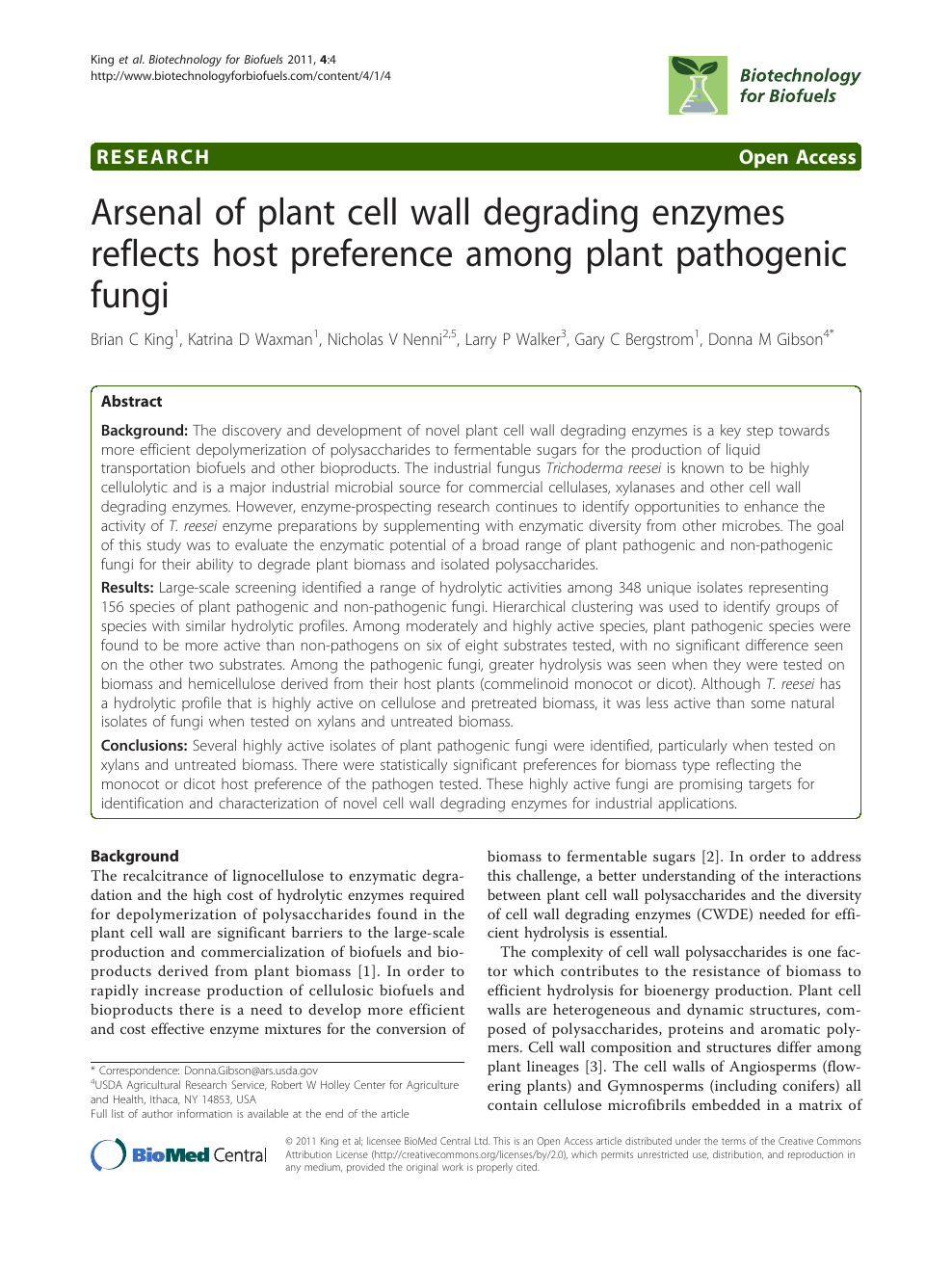 Arsenal of plant cell wall degrading enzymes reflects host
