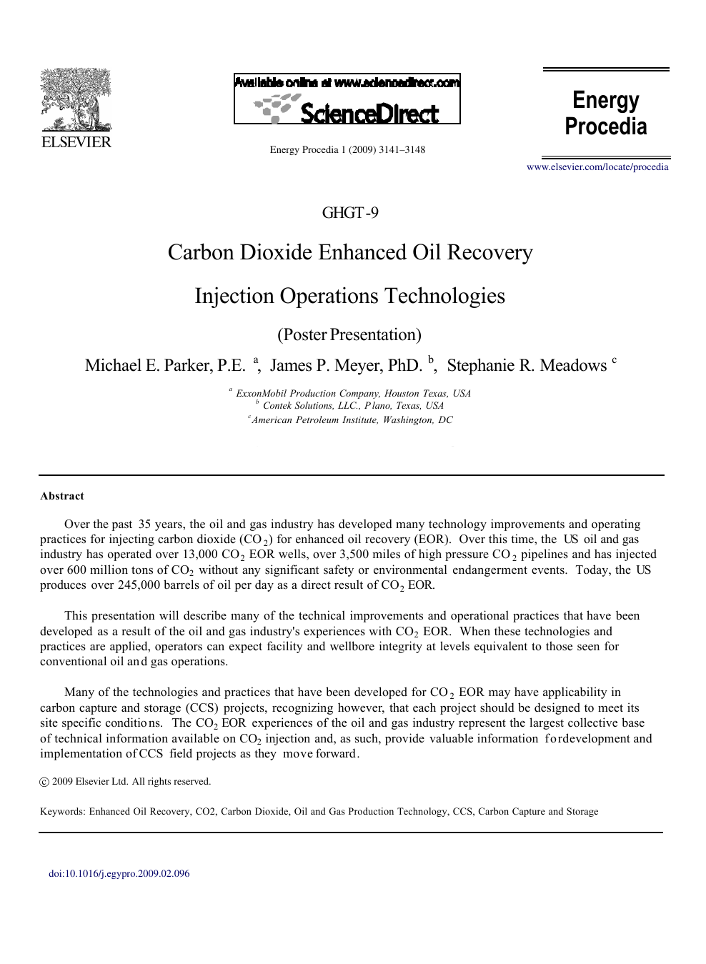 Carbon Dioxide Enhanced Oil Recovery Injection Operations