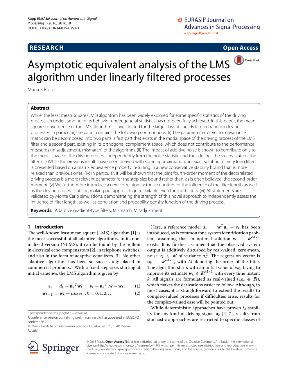 Asymptotic equivalent analysis of the LMS algorithm under