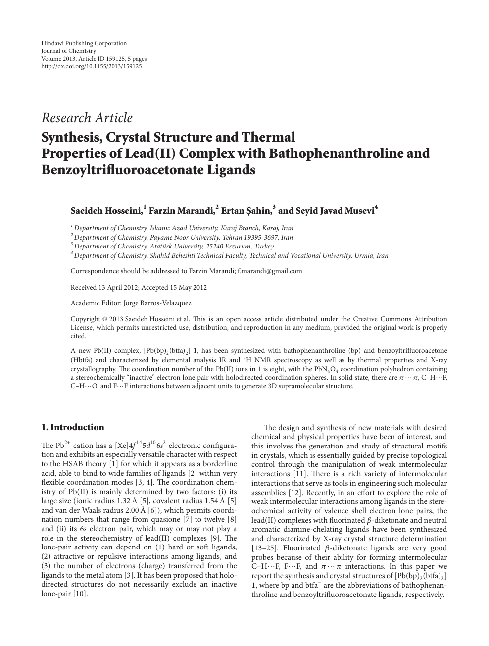 Synthesis Crystal Structure And Thermal Properties Of Lead Ii Complex With Bathophenanthroline And Benzoyltrifluoroacetonate Ligands Topic Of Research Paper In Chemical Sciences Download Scholarly Article Pdf And Read For Free On Cyberleninka