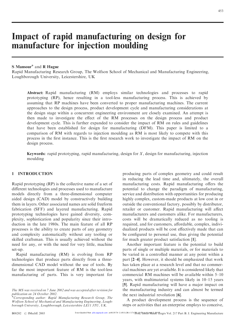 Impact Of Rapid Manufacturing On Design For Manufacture For Injection Moulding Topic Of Research Paper In Materials Engineering Download Scholarly Article Pdf And Read For Free On Cyberleninka Open Science Hub