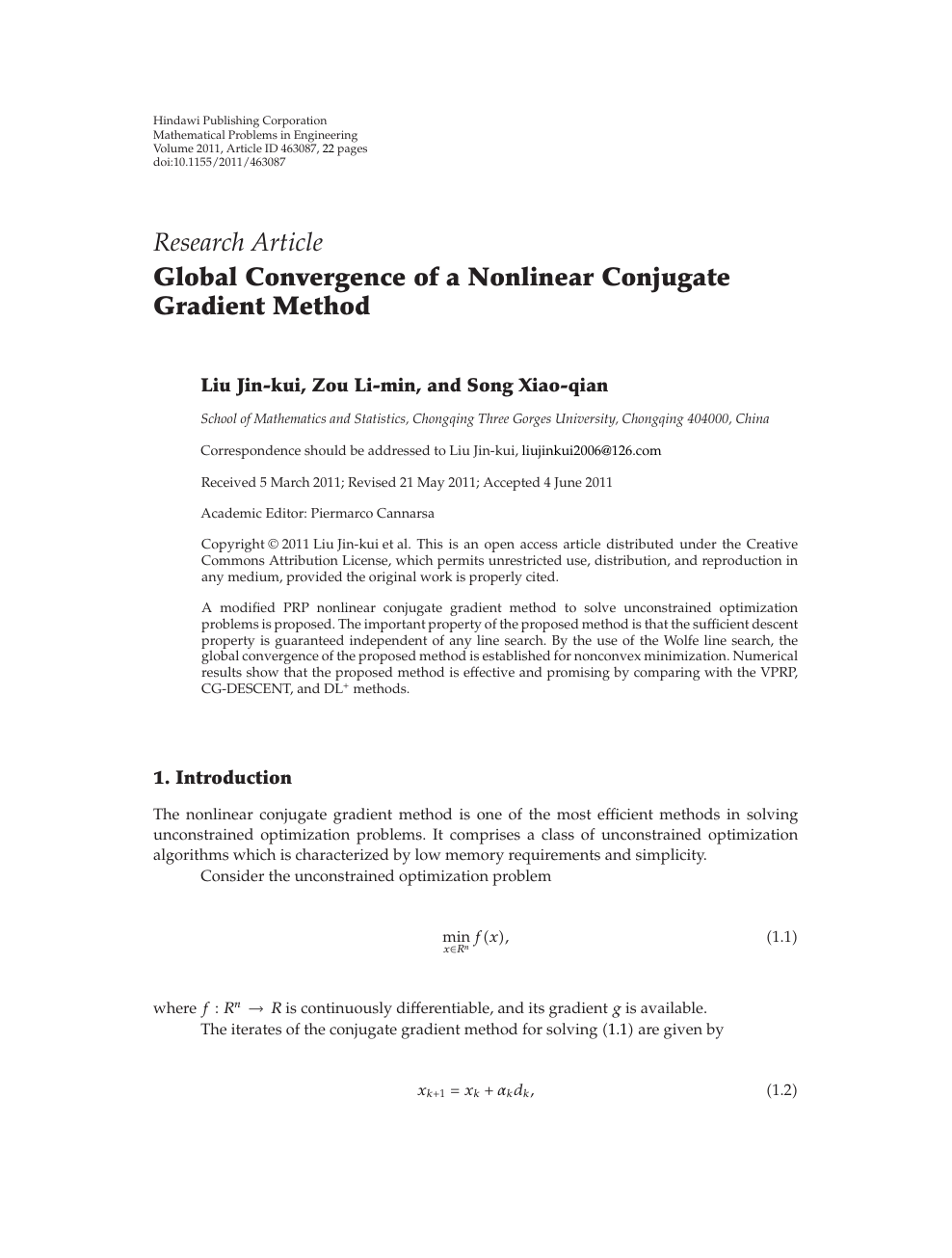 Global Convergence of a Nonlinear Conjugate Gradient Method