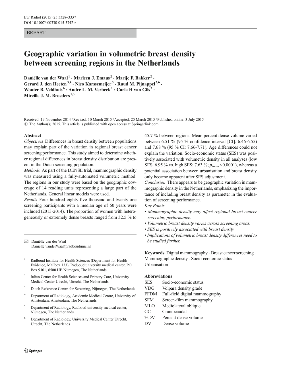Geographic variation in volumetric breast density between
