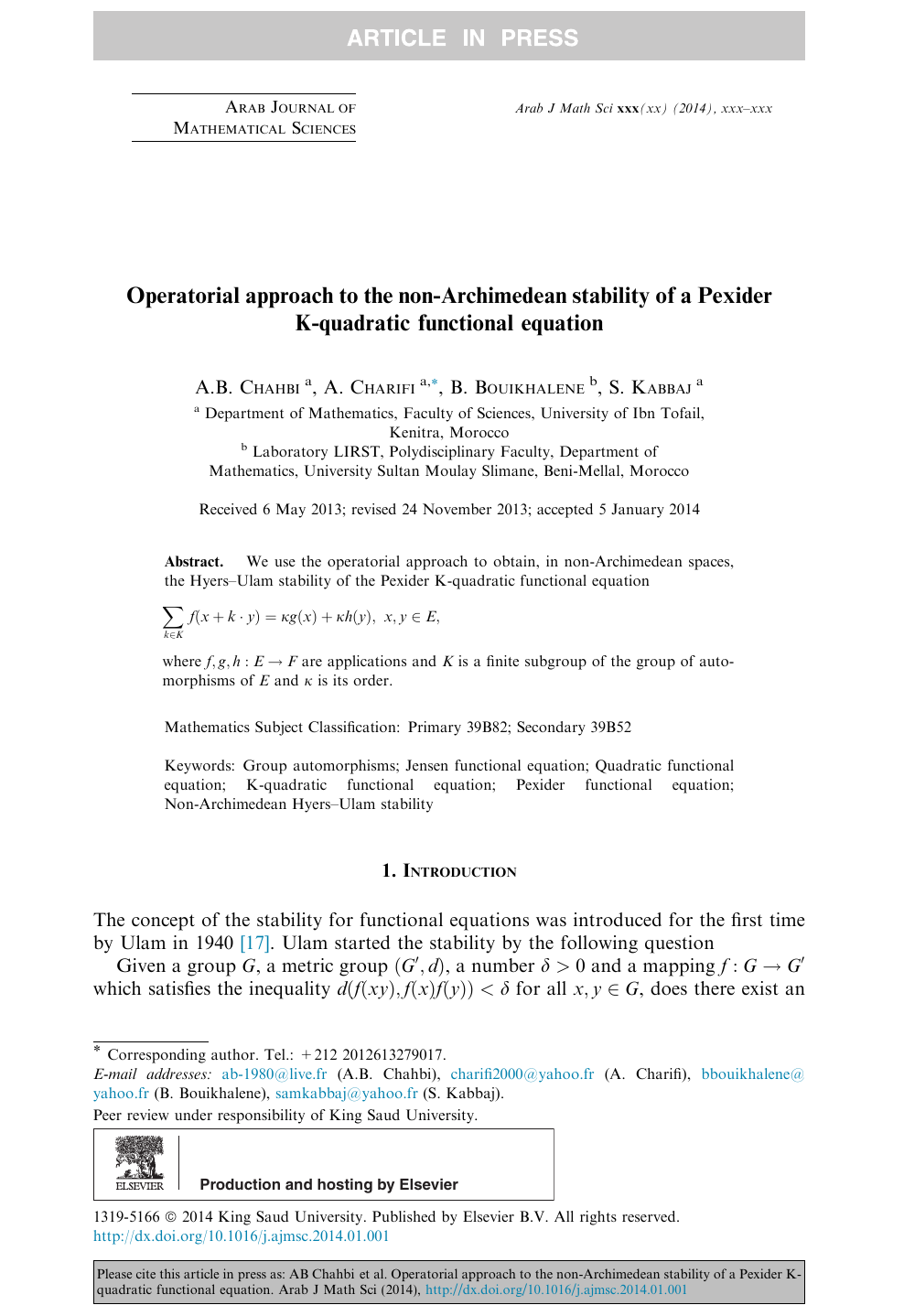 Operatorial approach to the non-Archimedean stability of a Pexider K
