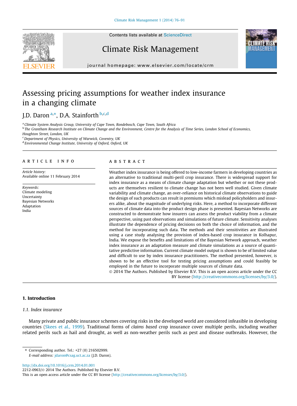 Assessing pricing assumptions for weather index insurance in a