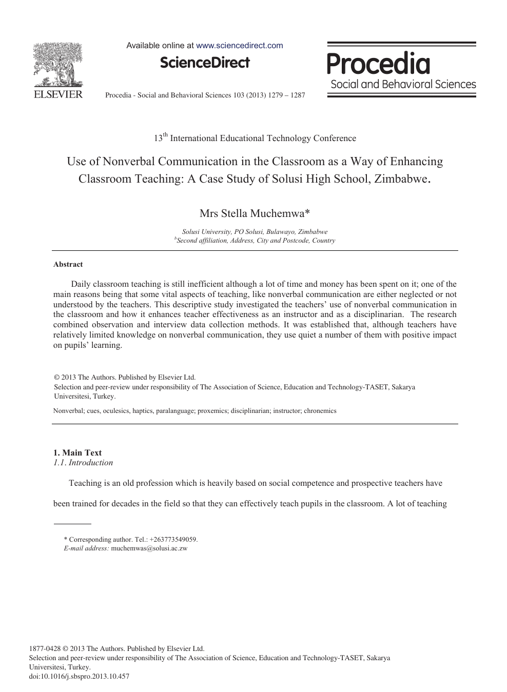 Use Of Nonverbal Communication In The Classroom As A Way Of Enhancing Classroom Teaching A Case Study Of Solusi High School Zimbabwe Topic Of Research Paper In Educational Sciences Download Scholarly It is one of several subcategories of the study of nonverbal communication. use of nonverbal communication in the