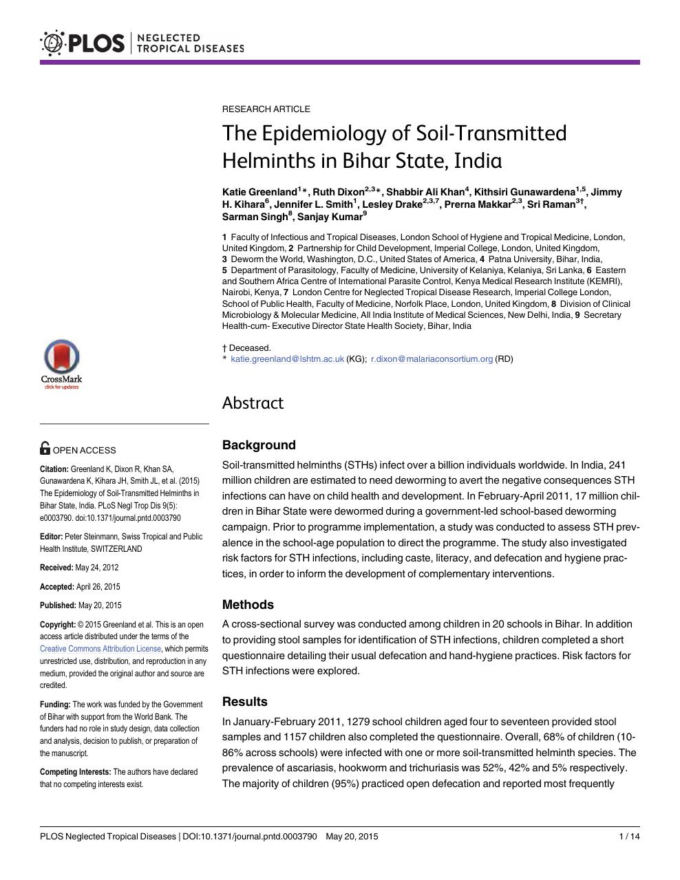 soil transmitted helminths journal