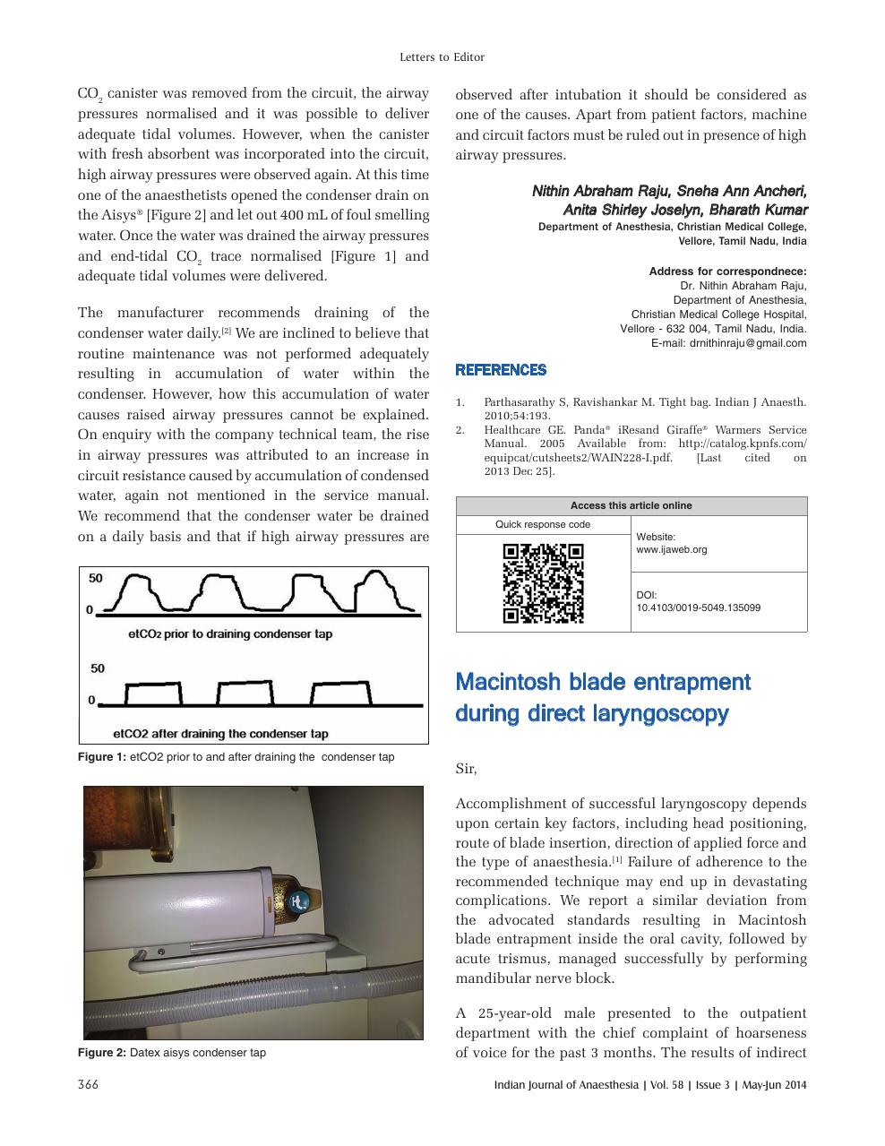 Macintosh blade entrapment during direct laryngoscopy – topic of