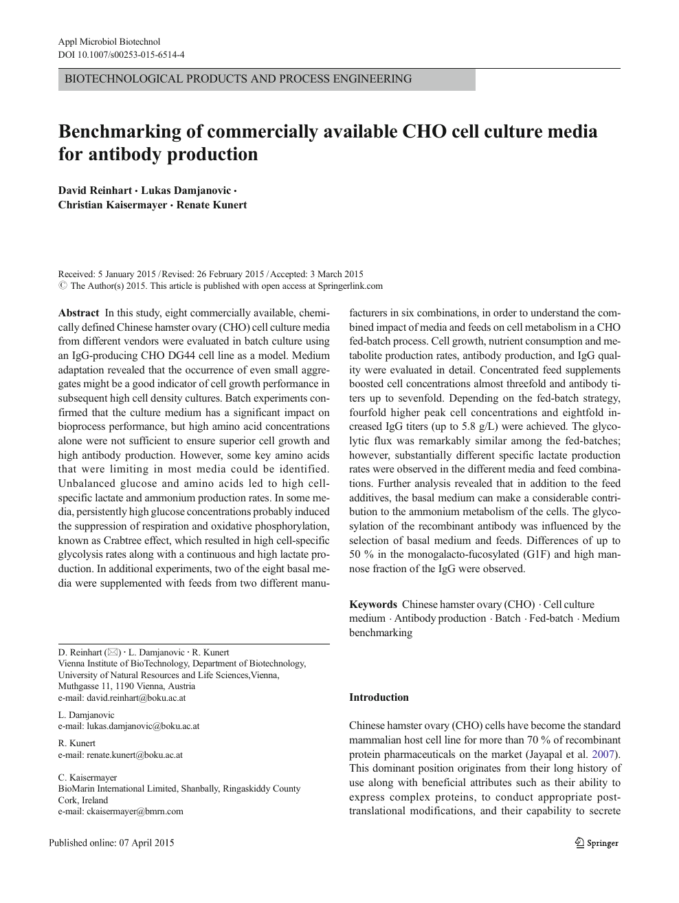 Benchmarking of commercially available CHO cell culture