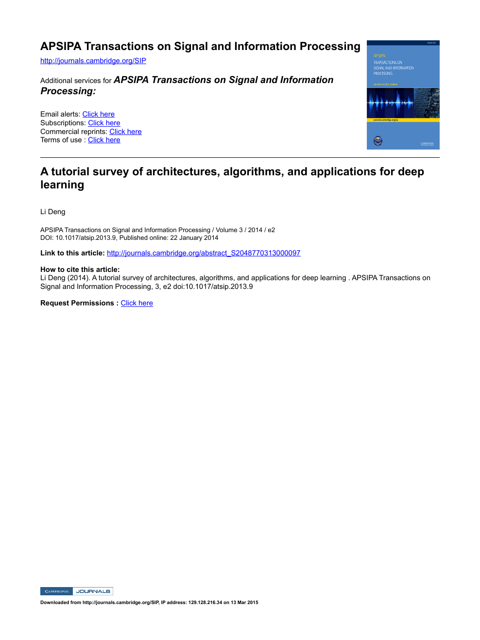 A tutorial survey of architectures, algorithms, and