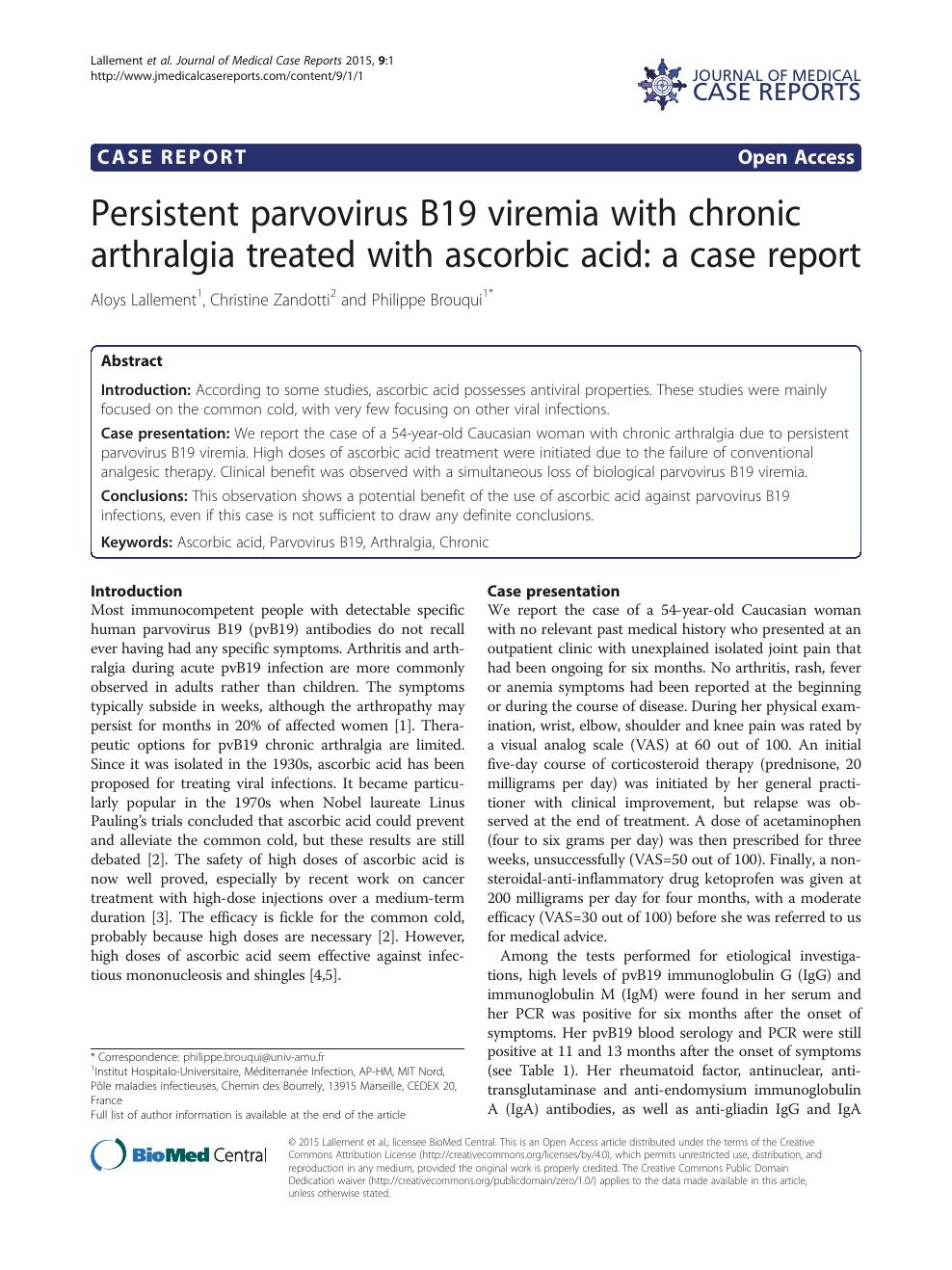 Persistent Parvovirus B19 Viremia With Chronic Arthralgia Treated