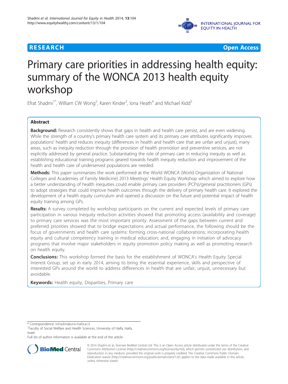 Primary care priorities in addressing health equity: summary