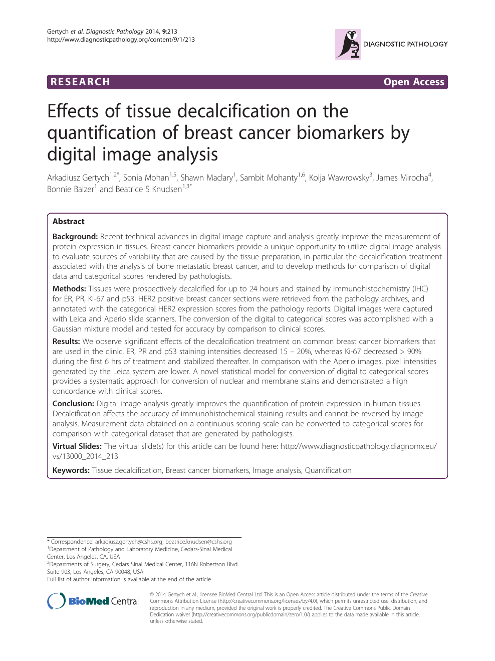 Effects of tissue decalcification on the quantification of breast