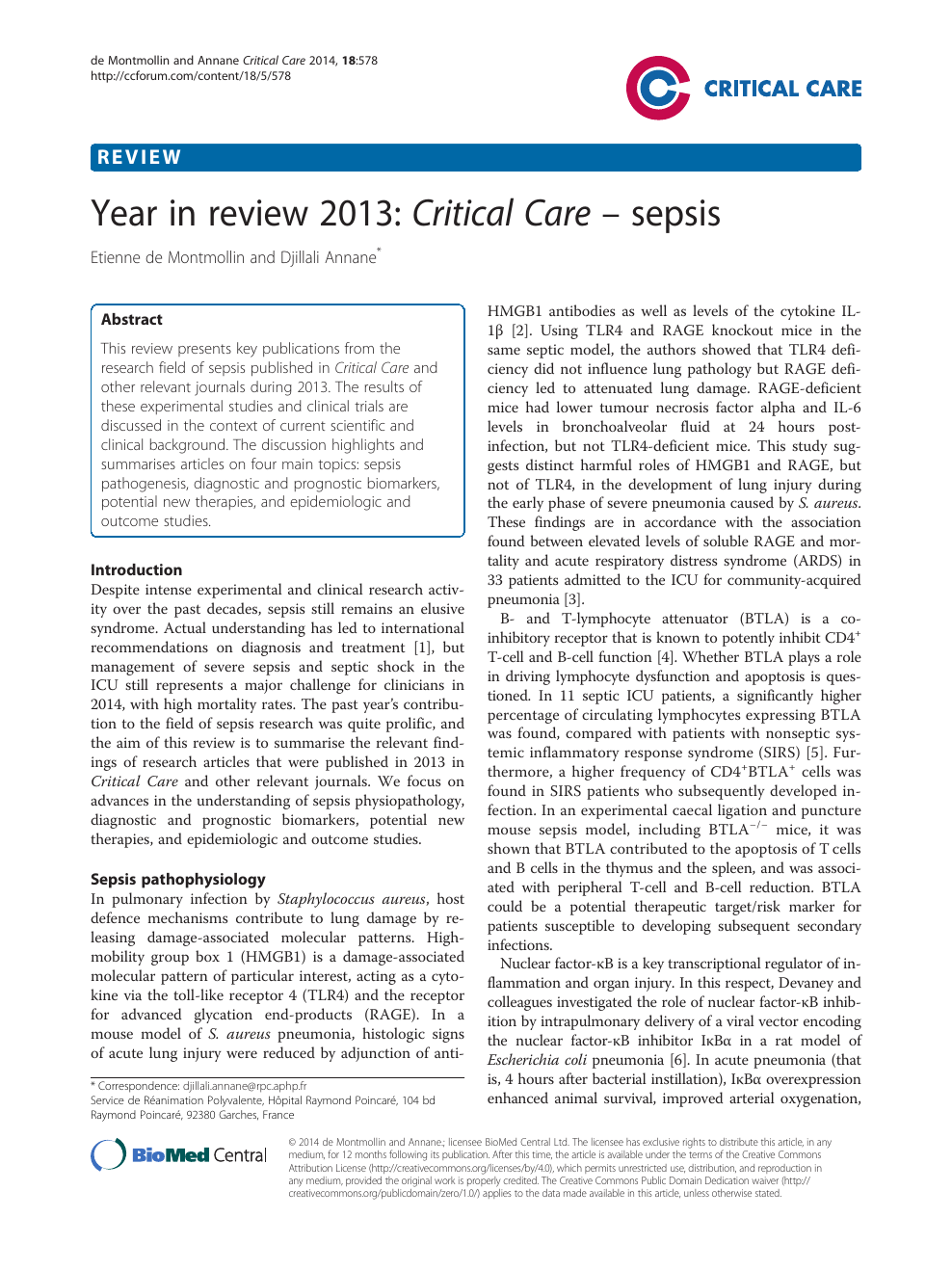 Year in review 2013: Critical Care – sepsis – topic of research