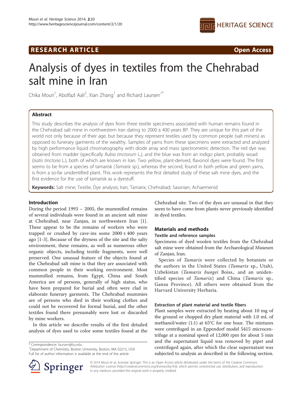 Analysis of dyes in textiles from the Chehrabad salt mine in Iran