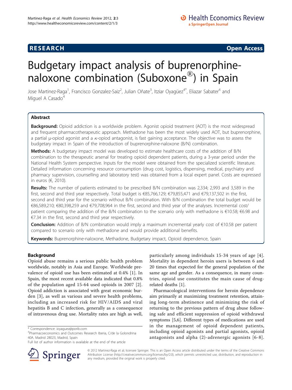 Budgetary impact analysis of buprenorphine-naloxone