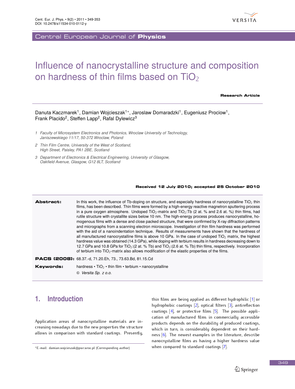 Influence of nanocrystalline structure and composition on