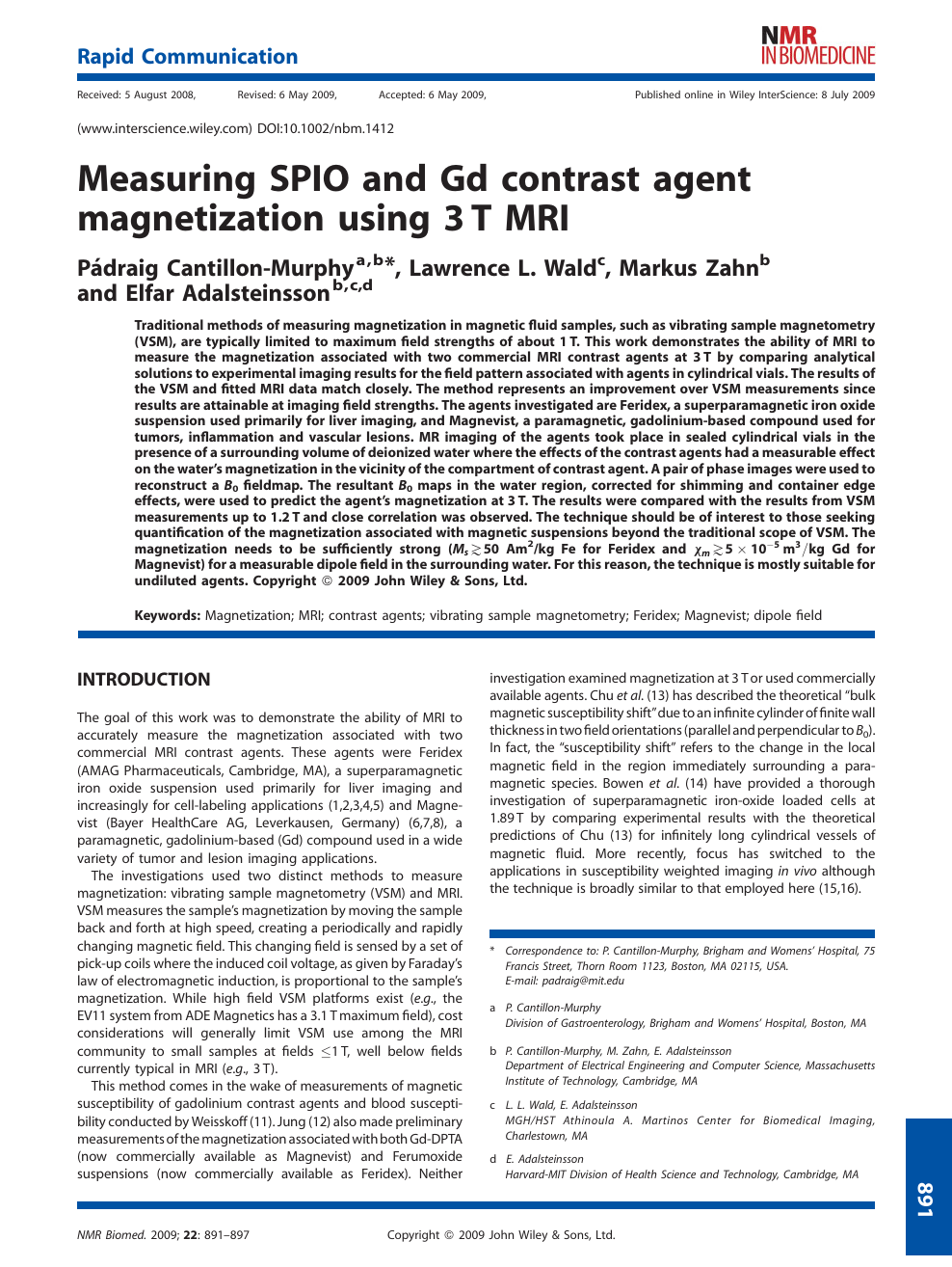Measuring SPIO and Gd contrast agent magnetization using 3 T MRI