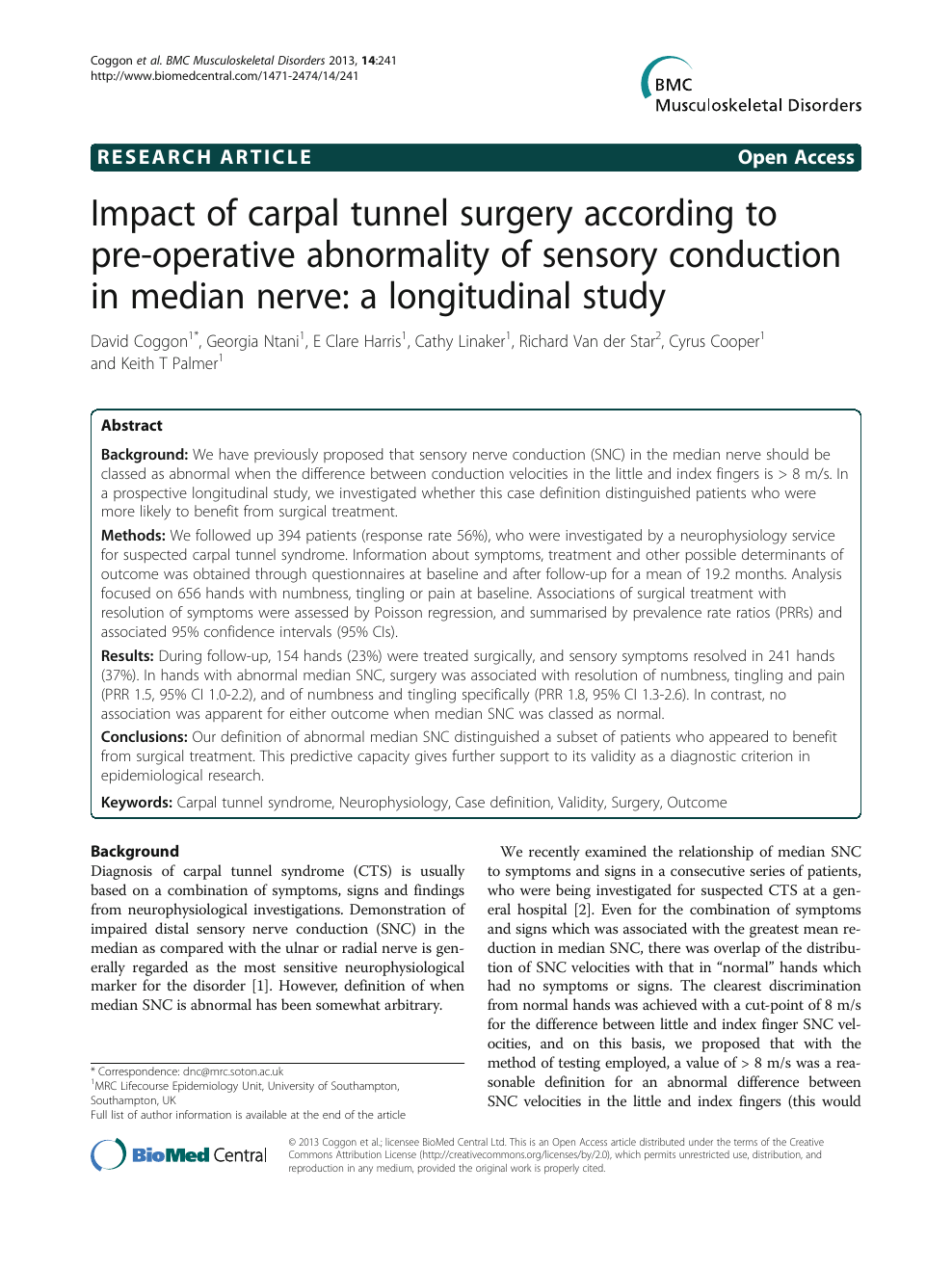 Impact Of Carpal Tunnel Surgery According To Pre Operative