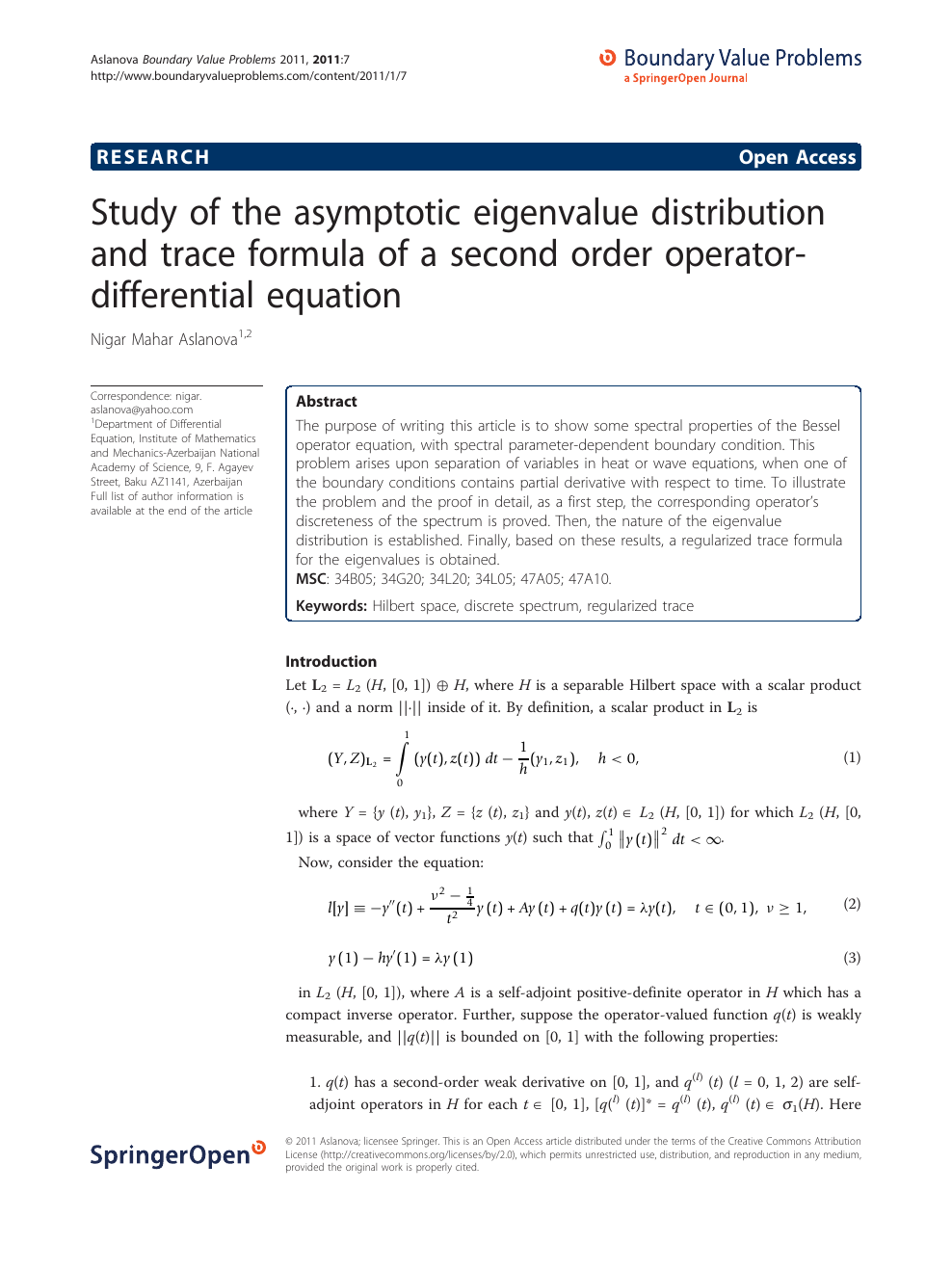 Study of the asymptotic eigenvalue distribution and trace