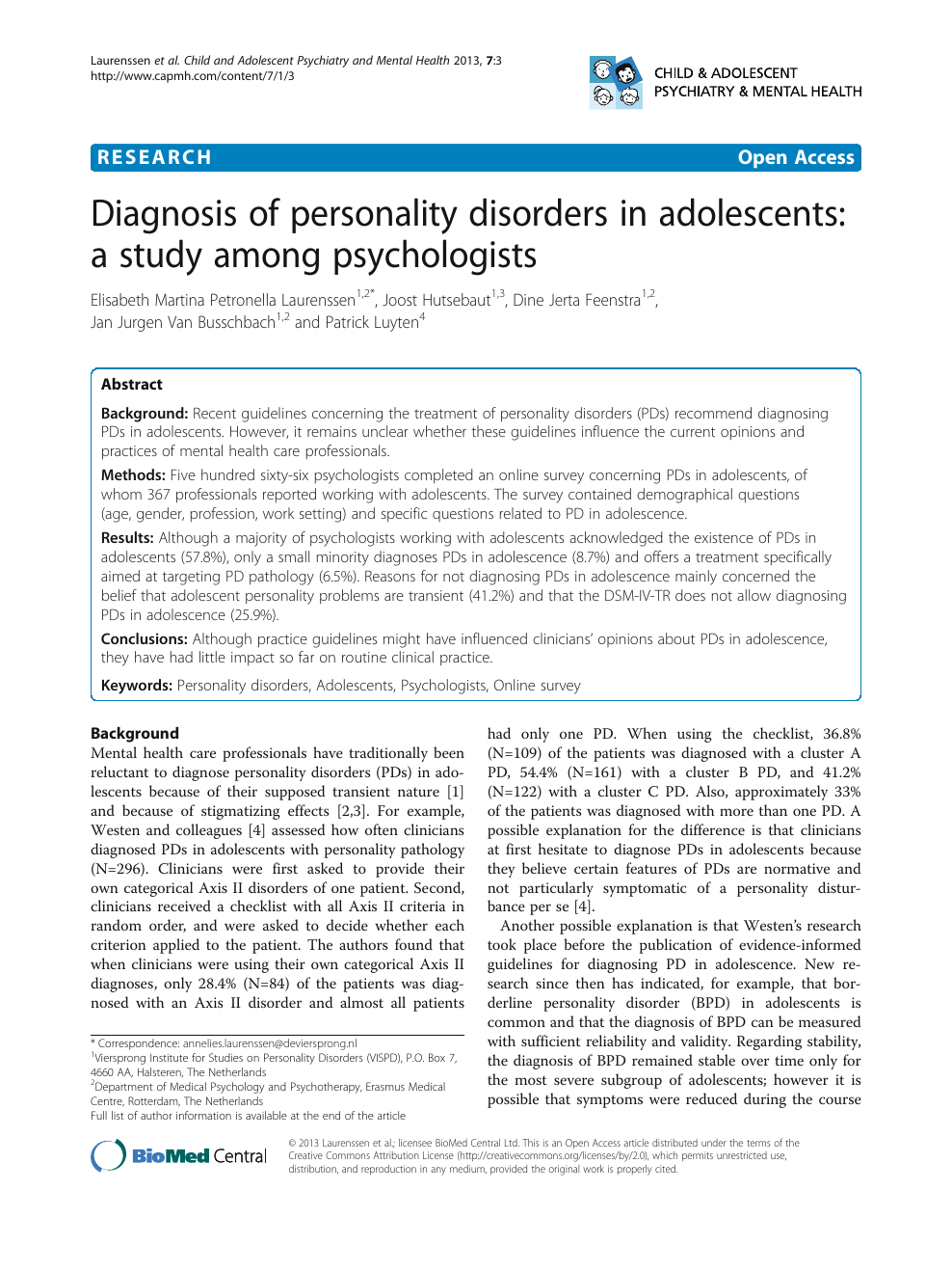 Diagnosis of personality disorders in adolescents: a study