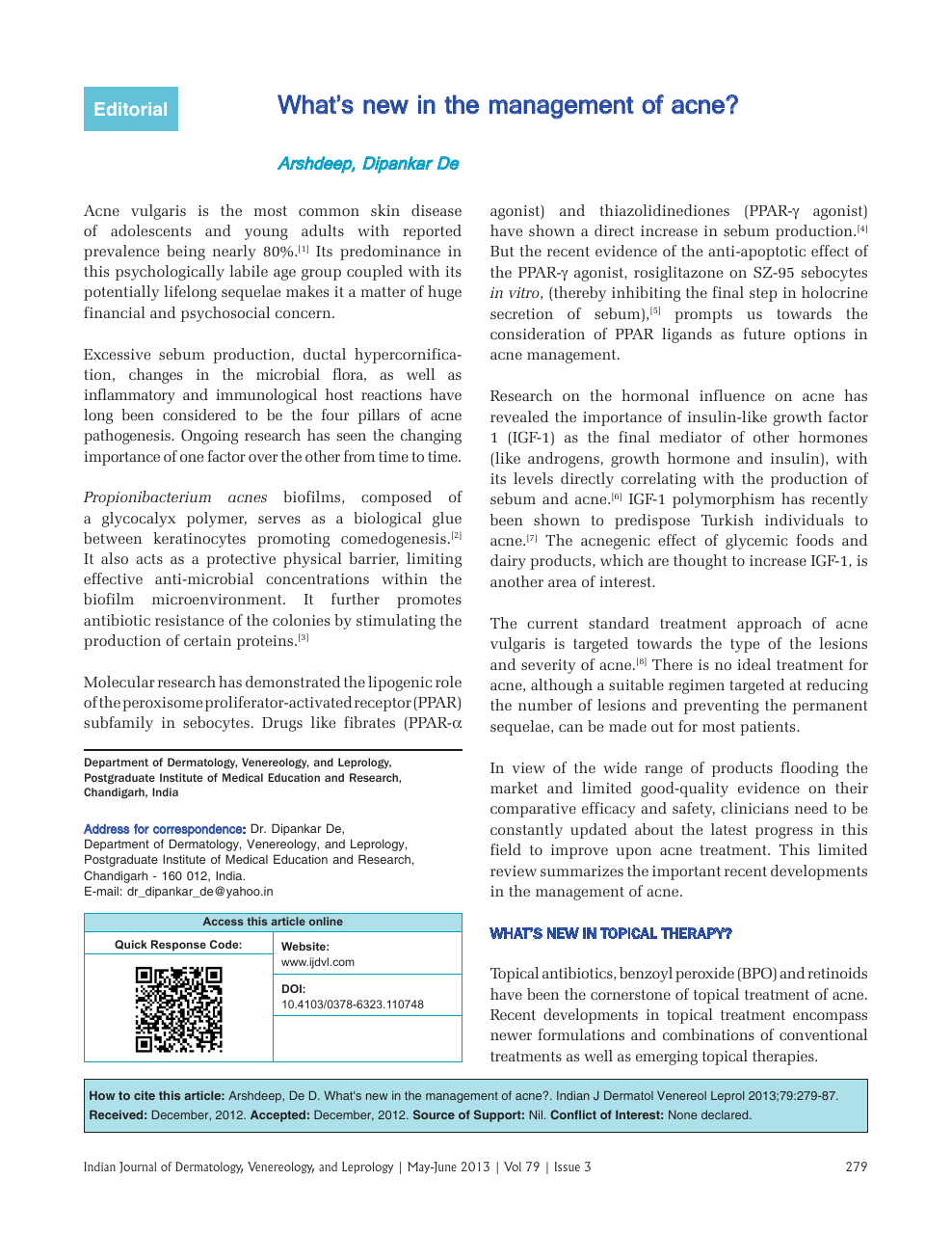 What′s new in the management of acne? – topic of research