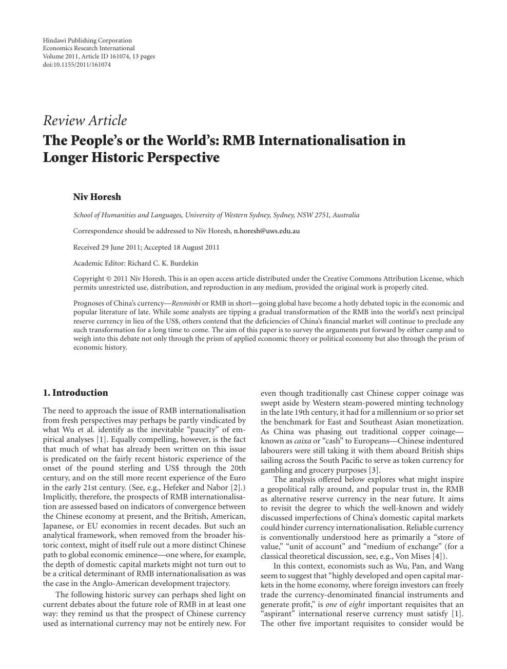The People's or the World's: RMB Internationalisation in Longer