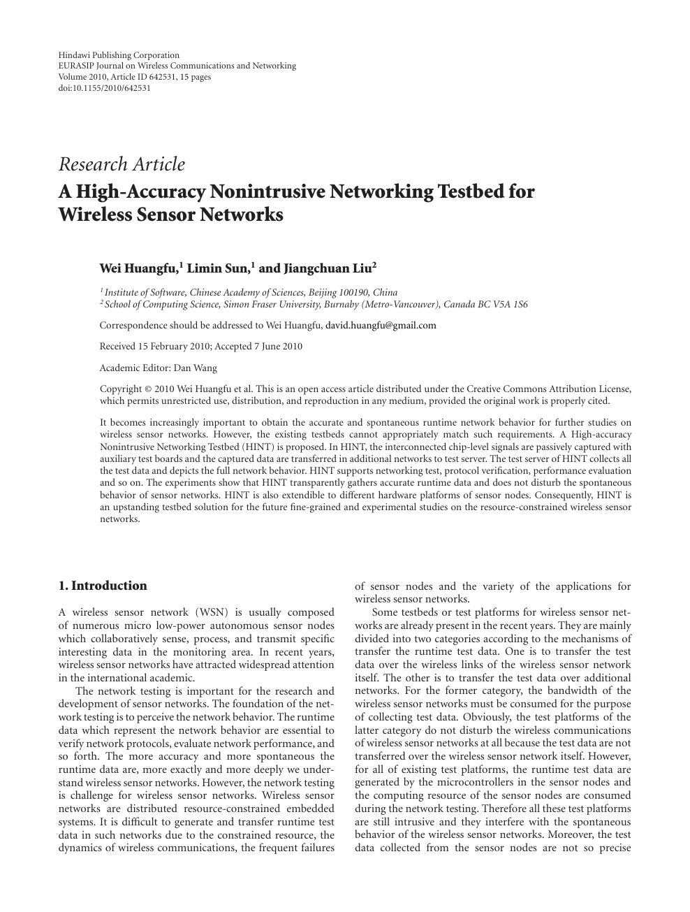 A High-Accuracy Nonintrusive Networking Testbed for Wireless Sensor