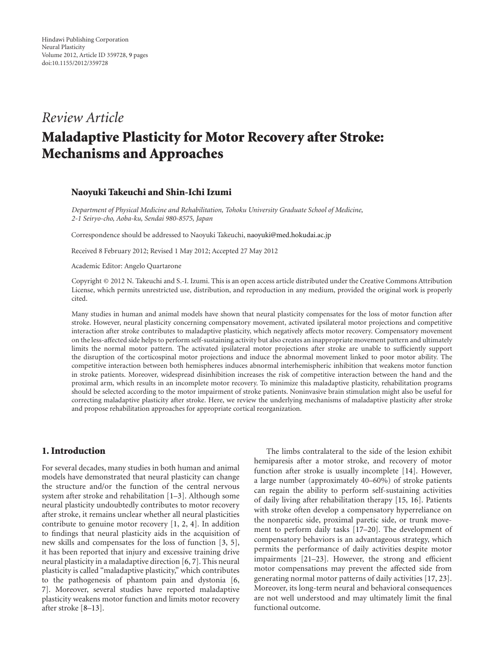 Maladaptive Plasticity for Motor Recovery after Stroke: Mechanisms