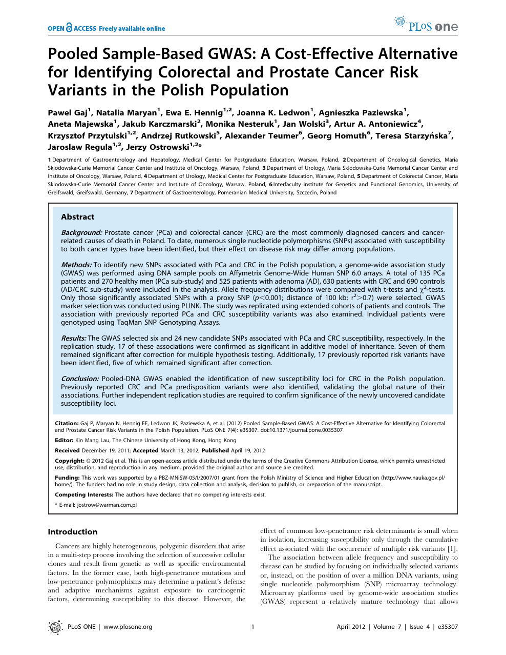 Pooled Sample Based Gwas A Cost Effective Alternative For Identifying Colorectal And Prostate Cancer Risk Variants In The Polish Population Topic Of Research Paper In Biological Sciences Download Scholarly Article Pdf And Read