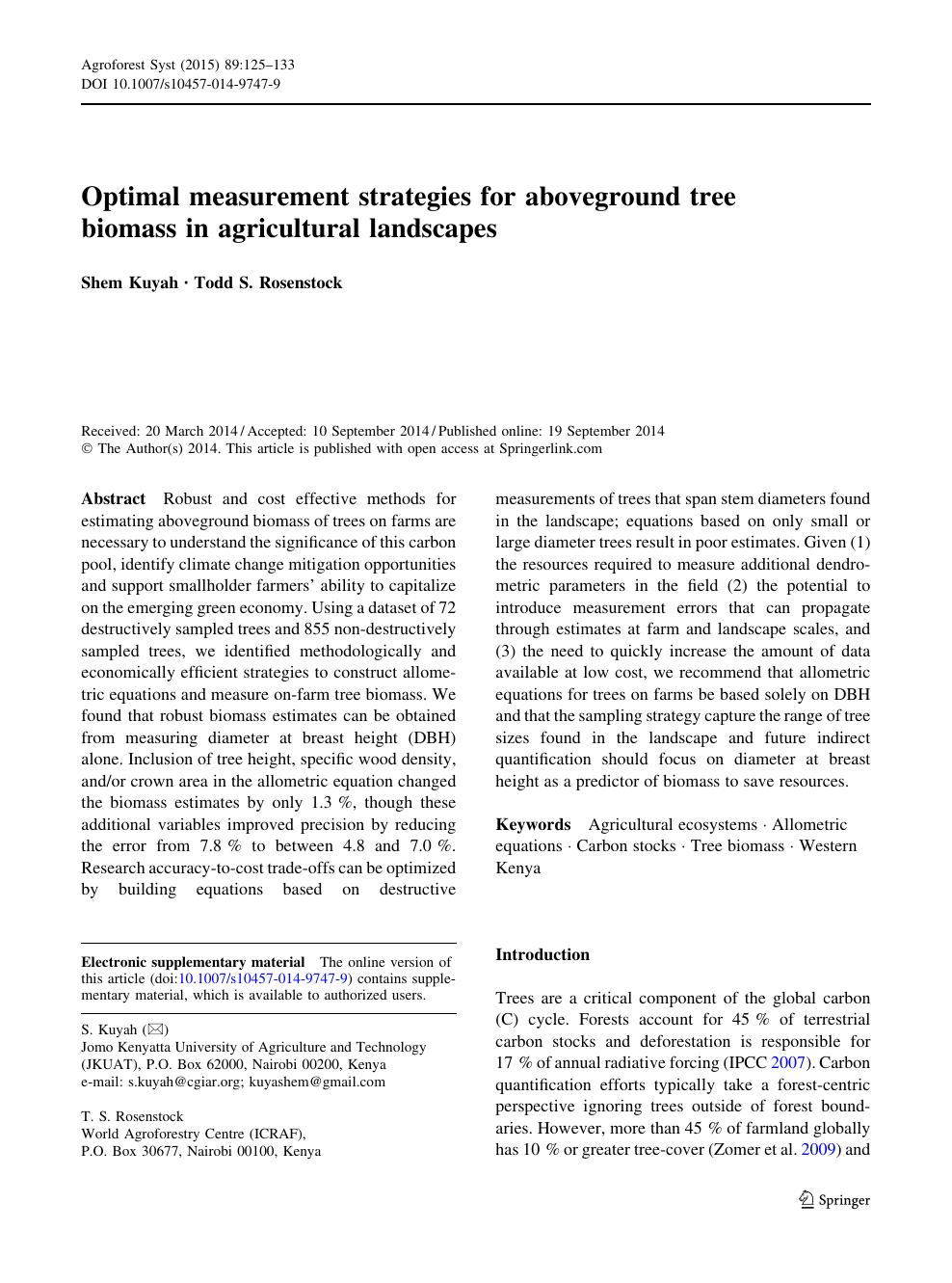 Optimal measurement strategies for aboveground tree biomass