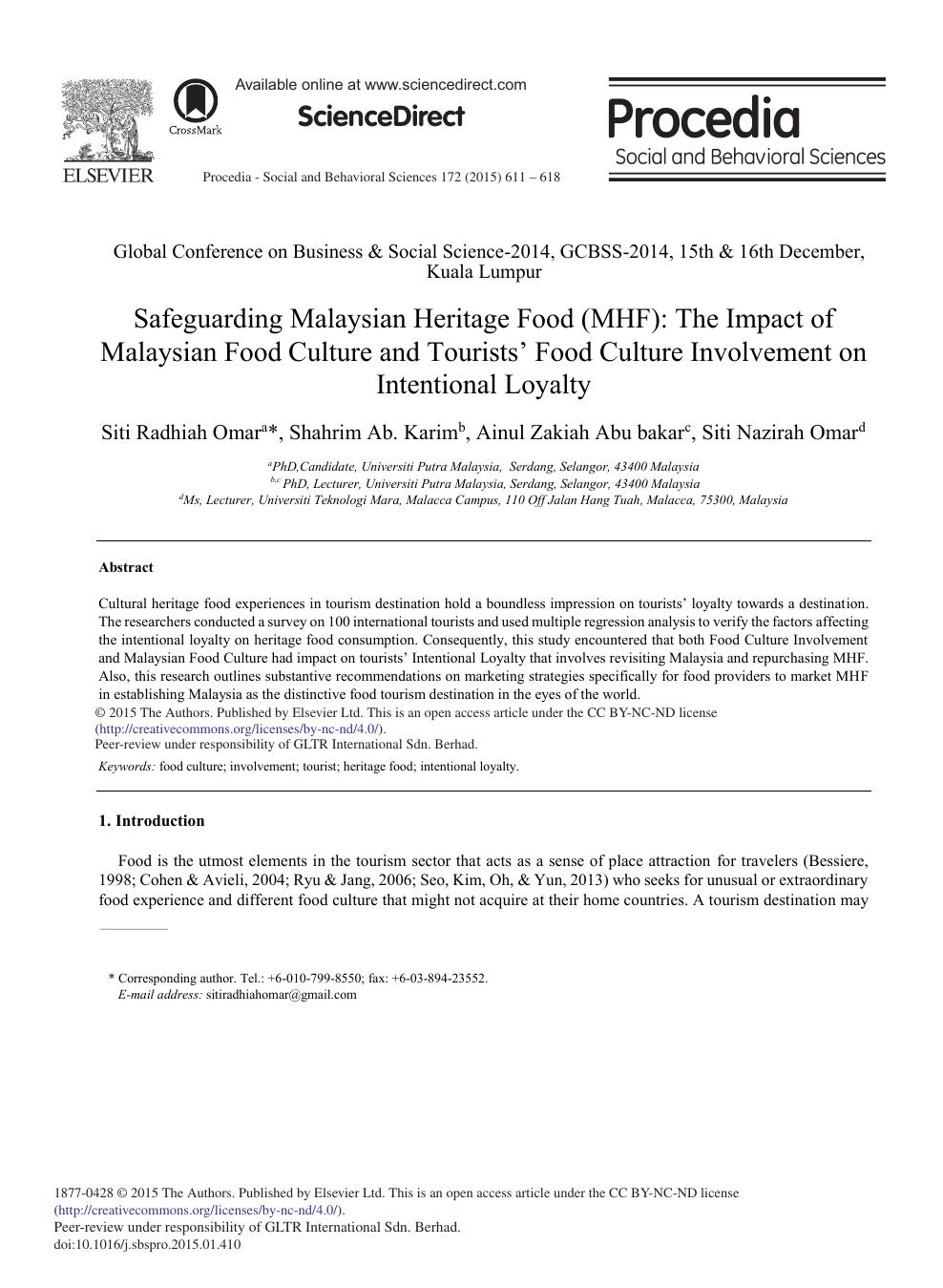 Safeguarding Malaysian Heritage Food (MHF): The Impact of Malaysian