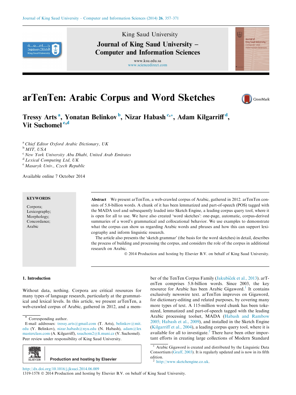 arTenTen: Arabic Corpus and Word Sketches – topic of research paper