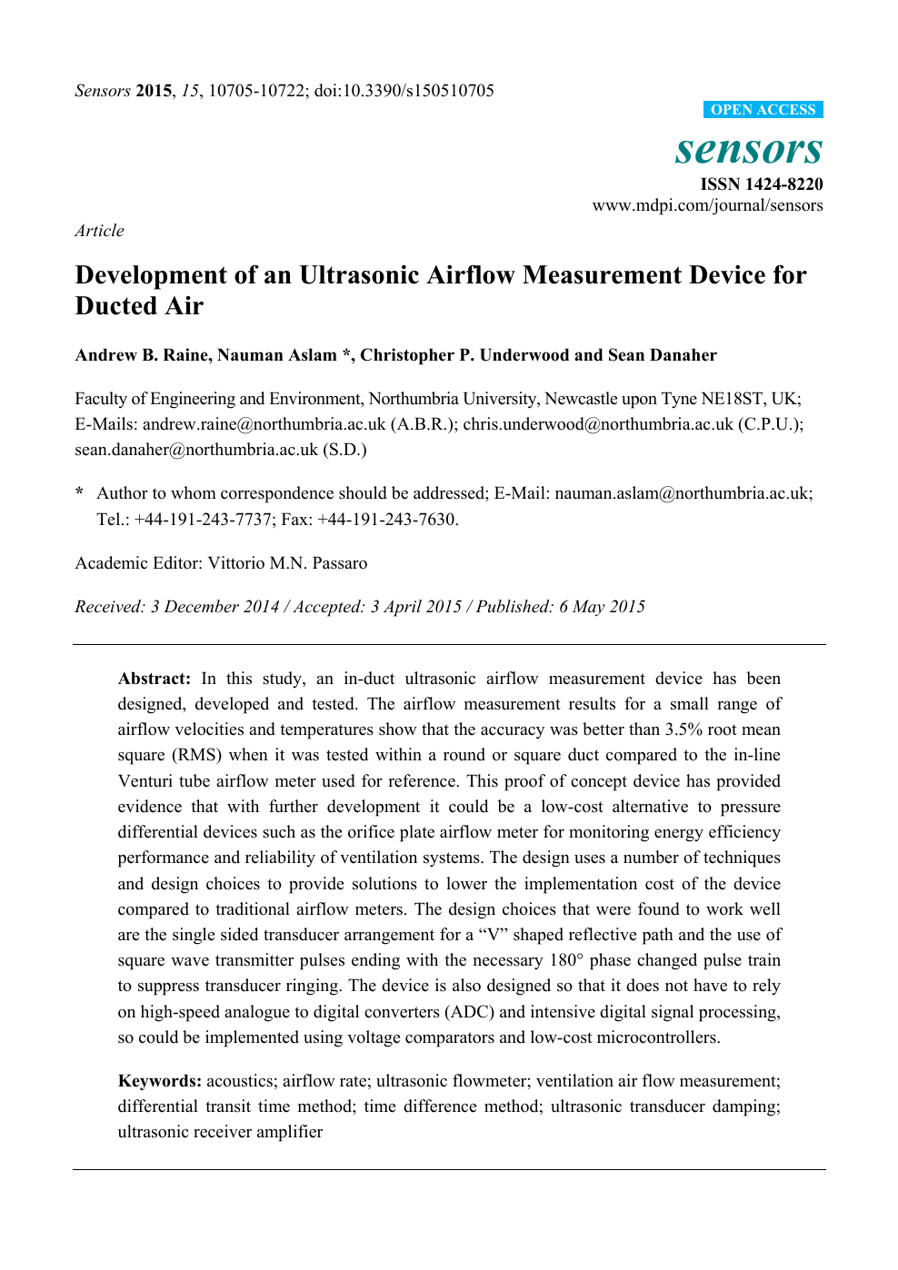Development of an Ultrasonic Airflow Measurement Device for